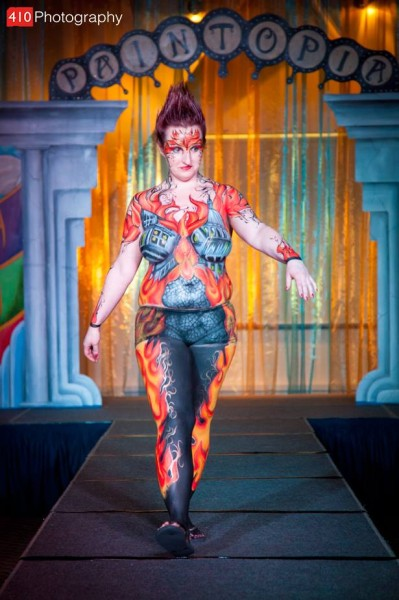 Londons Burning. Artist Karen Harvey. Assistant Alejandra Guzman. Model Katie Atkinson 2nd place in bodypainter of the year with assistant