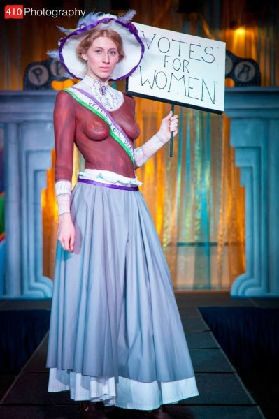 The Suffragette. Artist Kim Jackson. Model Rachel Dunn. 3rd place in Student Bodypainter of the Year 2014