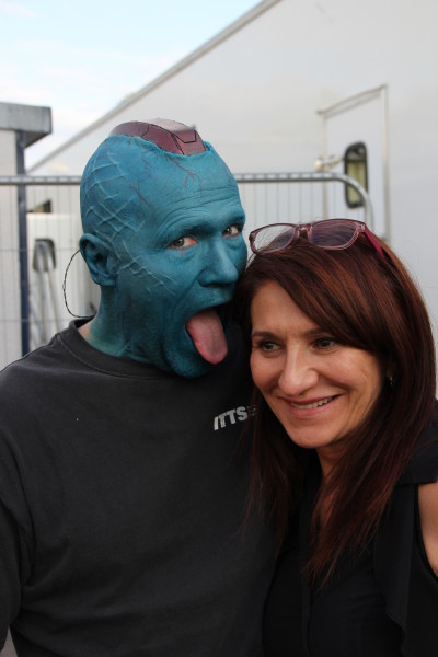Lizzie with Michael Rooker who plays Yondu