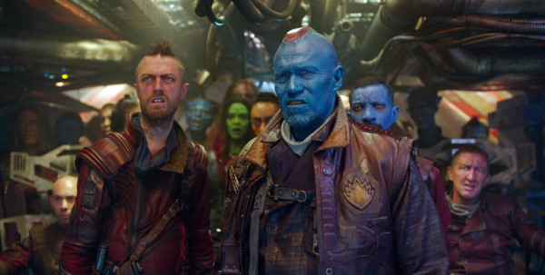 Michael Rooker as Yondu with Shaun Gunn as Kraglin. Yondu's head piece was from David White's Prosthetics dept, his skin, wounds and eyes, Lizzie. His crew including Kraglin as all created by Lizzie and her team.