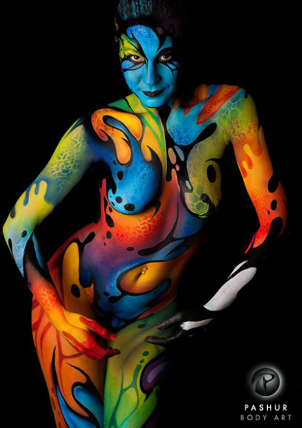 Genesis Body Painter: Pashur Model: Gracie Rebekah Williams Photographer: Jamie Brown / 410 Photography I created this piece at one of my favorite body art events, Paintopia, located in Norwich UK. I wanted to create an abstract harmonious piece using vibrant colors and fluid organic shapes.