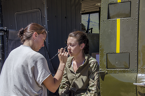 Sjaan Gillings working on set of Our Girl  pic: BBC