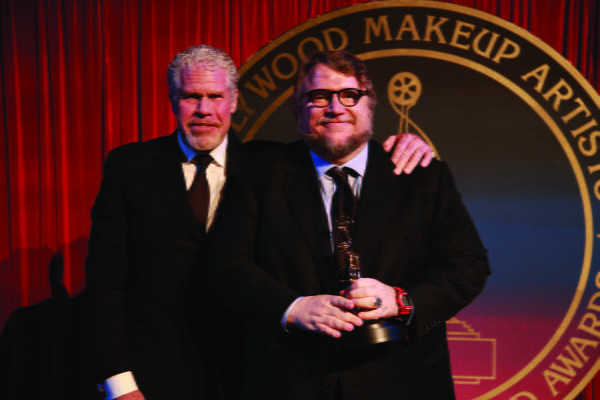 Golden Globe-winner Ron Perlman presents the Distinguished Artisan Award to his longtime friend and collaborator Guillermo Del Toro
