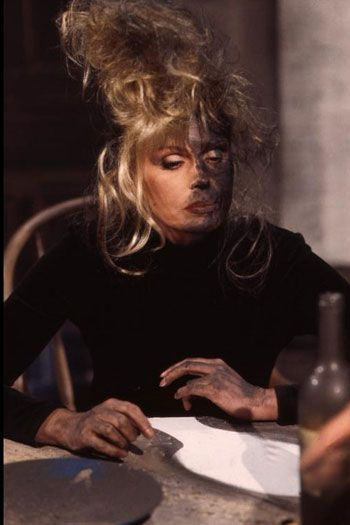 """Joanna Lumley as Patsy Stone in Absolutely Fabulous. This scene was the only one that jan had to use a wig on Joanna, """"The beehive was all her own, only for this did we use a wig and I feared we'd never get the black out'"""