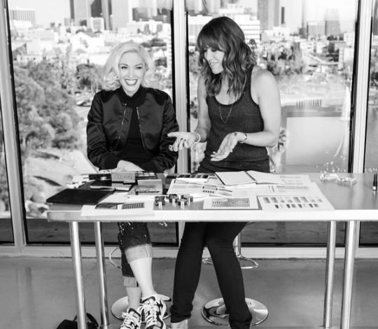 Gwen Stefani and Urban Decay's Wende Zomnir working on the collaboration. (Photo: Instagram)