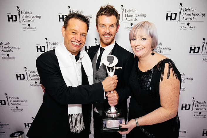 British Hairdresser of the Year 2015 Darren Ambrose with HJ's Jayne Lewis-Orr