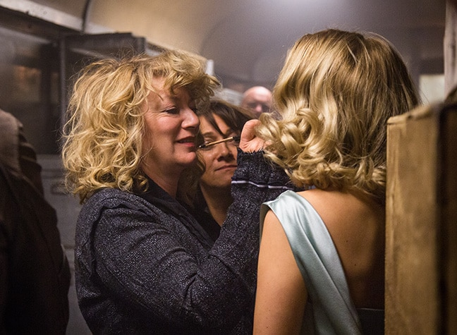 Naomi on the set of Spectre with Lea Seydoux