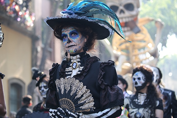 Day of The Dead parade from the set of Metro-Goldwyn-Mayer Pictures/Columbia Pictures/EON Productions' action adventure SPECTRE.
