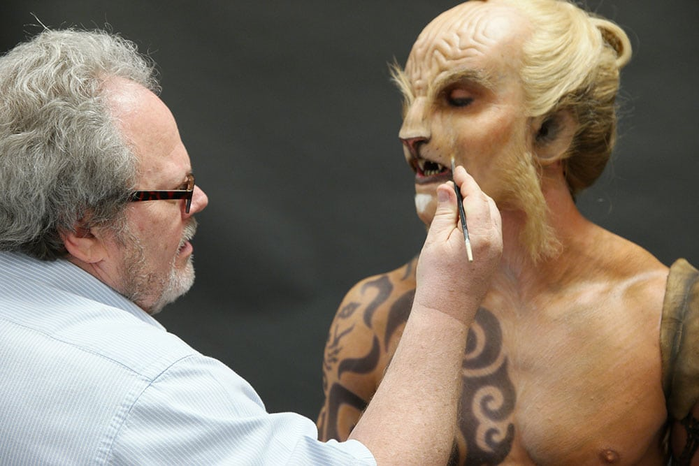 Kenny works on the Lion Warrior demo for Monsterpalooza 2016, with hair work by Karen.  Image source and full list of artists here.