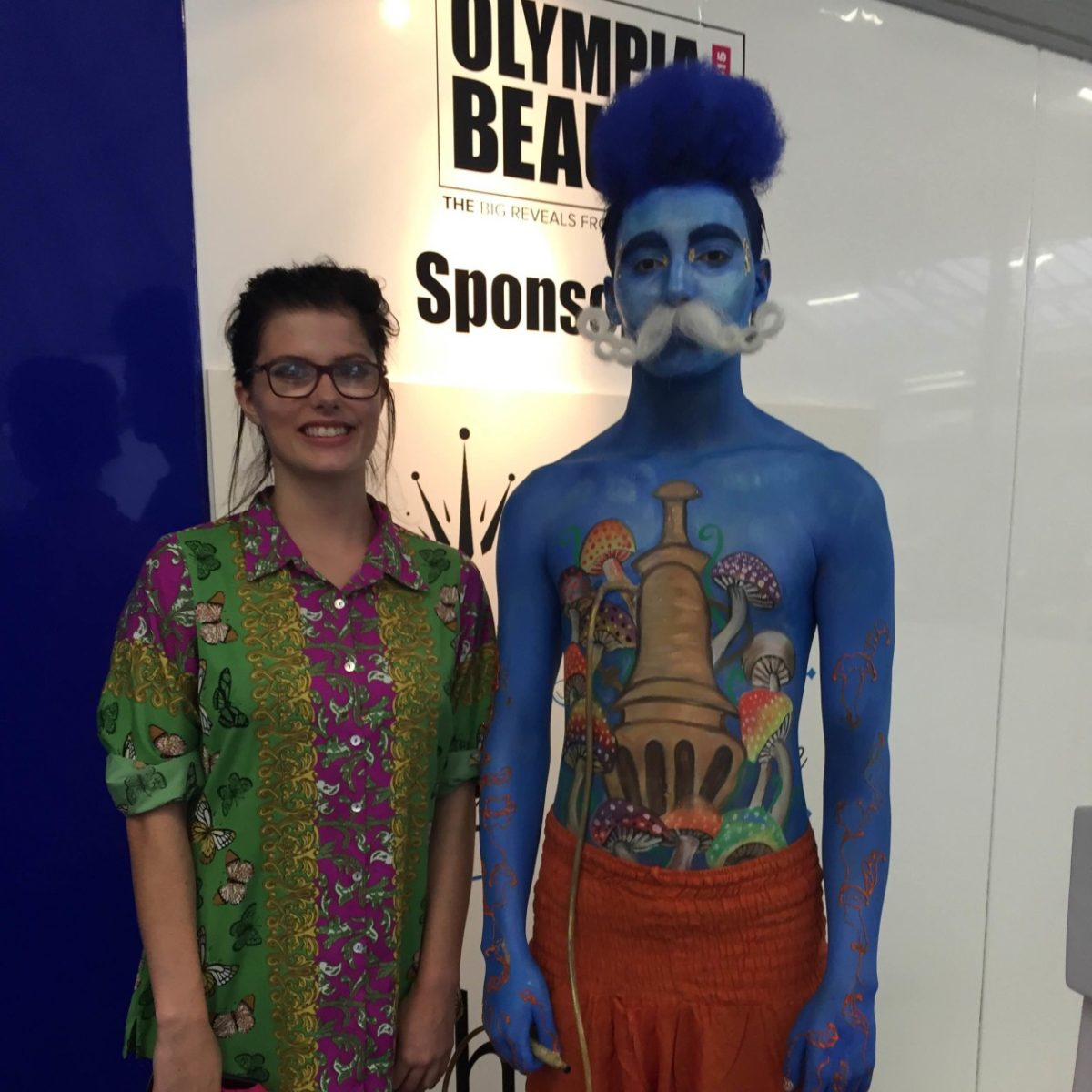 Charlotte Hawkins, AUB graduate who came 2nd in the student competition at Olympia Beauty Body Painting Competition 2015