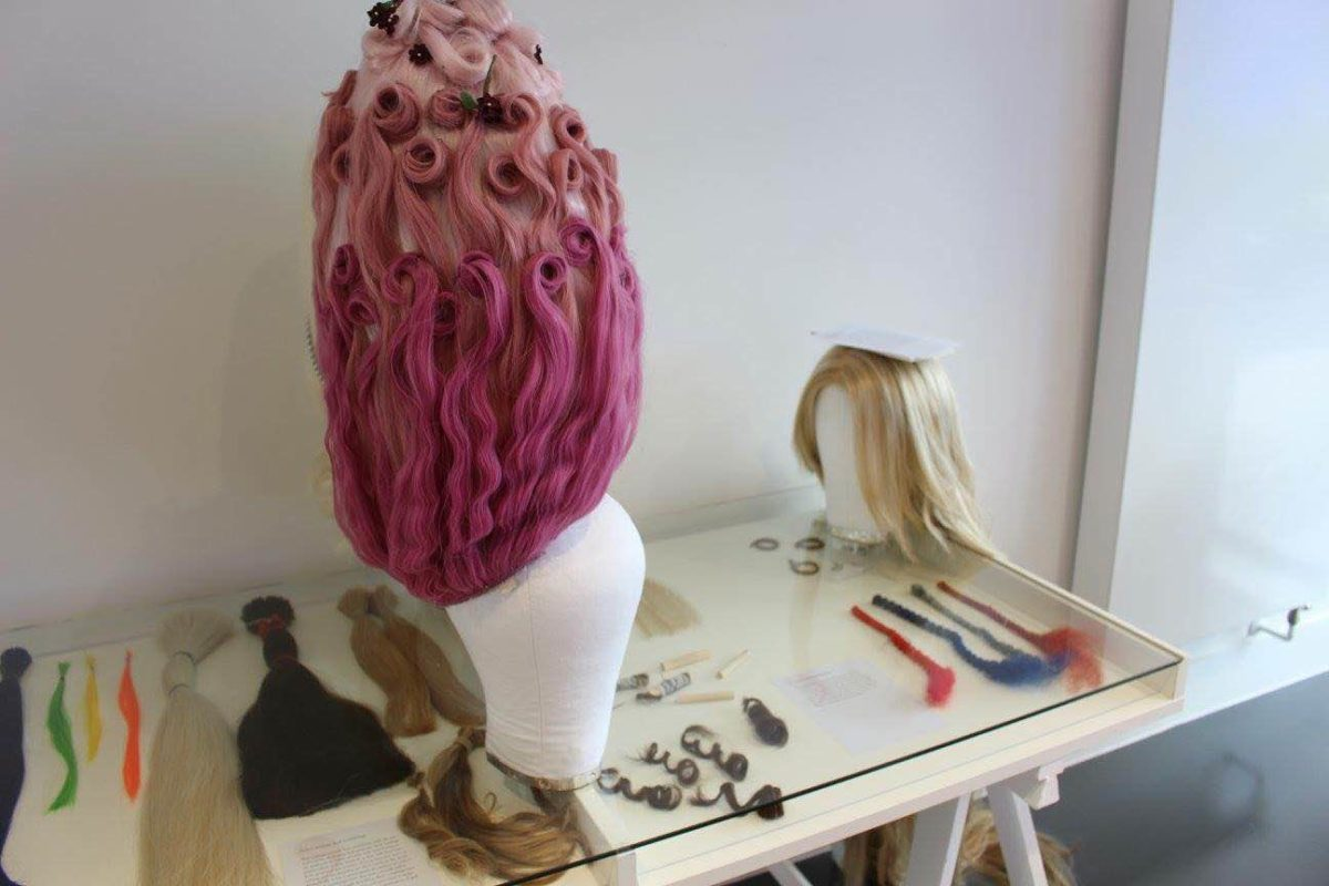 "Wig work as part of a current exhibition curated by Sara Taylor ""A Hairs Breadth"""