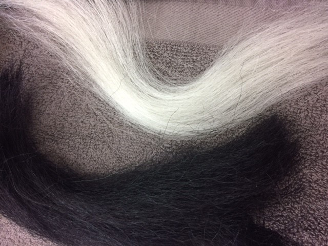 Dark and Light yak hair, ready for mixing