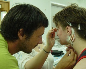 Gill makeup on Daniel Radcliffe  applied with Mark Coulier for Nick Dudman for Harry Potter and The Goblet of Fire