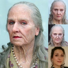 Old Age Makeup designed by VVDFX, applied with Sarita Allison. UMAE demo for Premiere Products