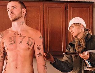Eryn Krueger Mekash working on Justin Timberlake in Alpha Dog. Tattoos by Tinsley Studio.