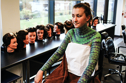 Student with bodypaint