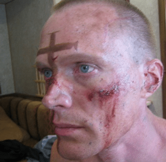 Paul Bettany with SFX makeup on